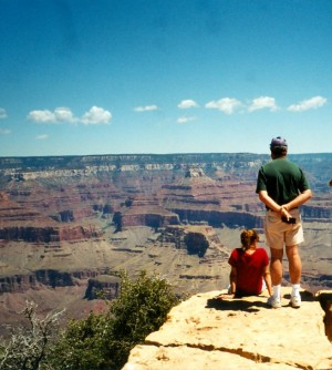 Kim and Dad at Powell Point-Grand Canyon July 1998