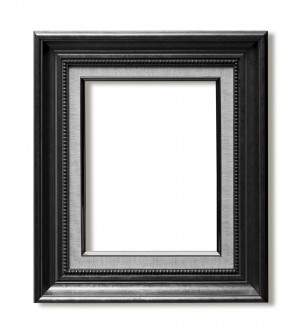 Old Antique Black frame Isolated Decorative Carved Wood
